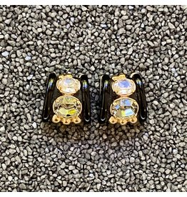 VC Italy Black w/ Grey and Clear Crystal Clip Earrings