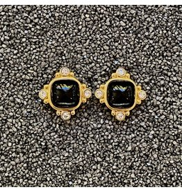 VC Italy Black and Gold Clip Earrings