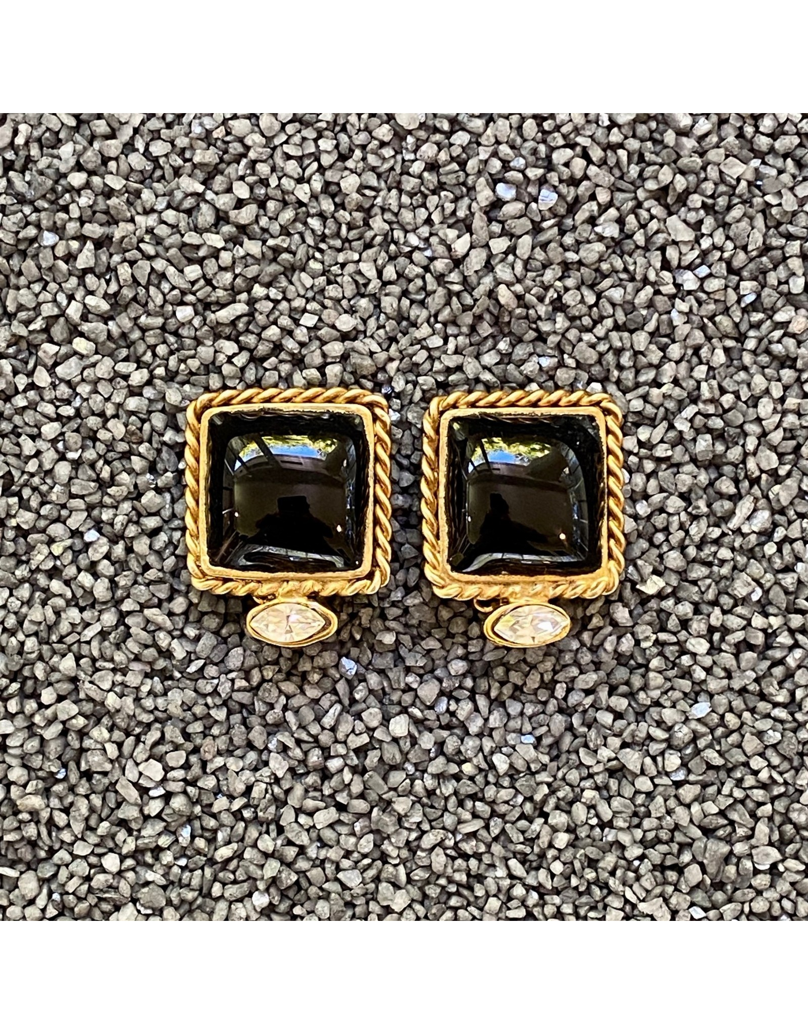 Francoise Montague Black and Gold Square Clip Earrings