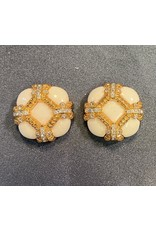 VC Italy White and Gold Clip Earring