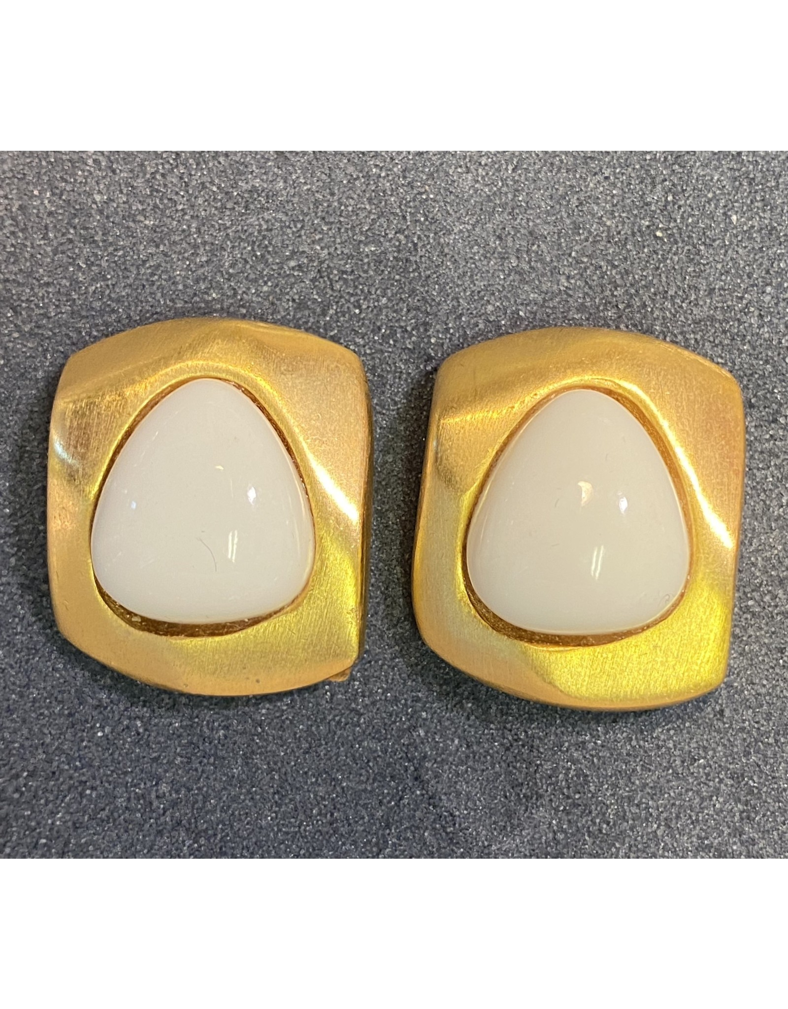 Kenneth Jay Lane White Gold Clip Earring