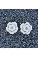 VC Italy Gold and White Flower, Diamond Center Clip Earring