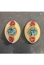 VC Italy White, Pink and Blue Clip Earring