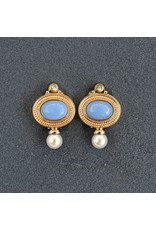 VC Italy Periwinkle, Gold and Pearl Clip Earring