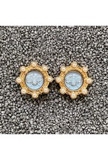 VC Italy Blue Bee Center, Gold and Pear Clip Earring