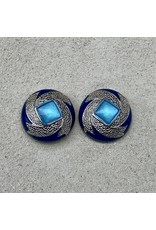 VC Italy Dark Blue, Silver and Light Blue Center Clip Earrings