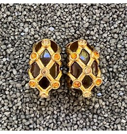 VC Italy Brown and Gold w/ Yellow Crystals Clip Earring