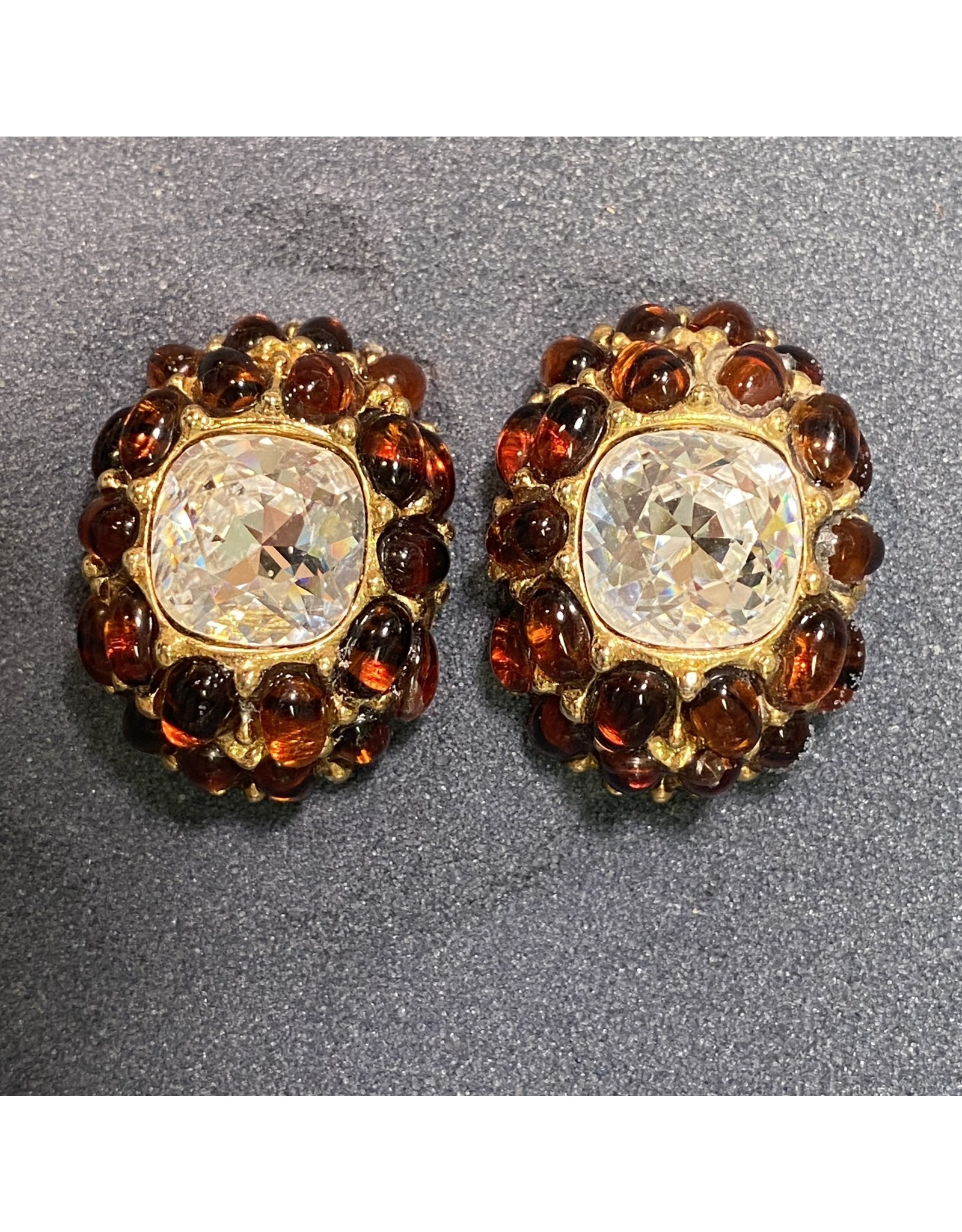 Kenneth Jay Lane Gold w/ Large Crystal and Amber Clip Earrings