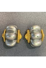 Kenneth Jay Lane Shrimp Dark Pearl Clip Earrings