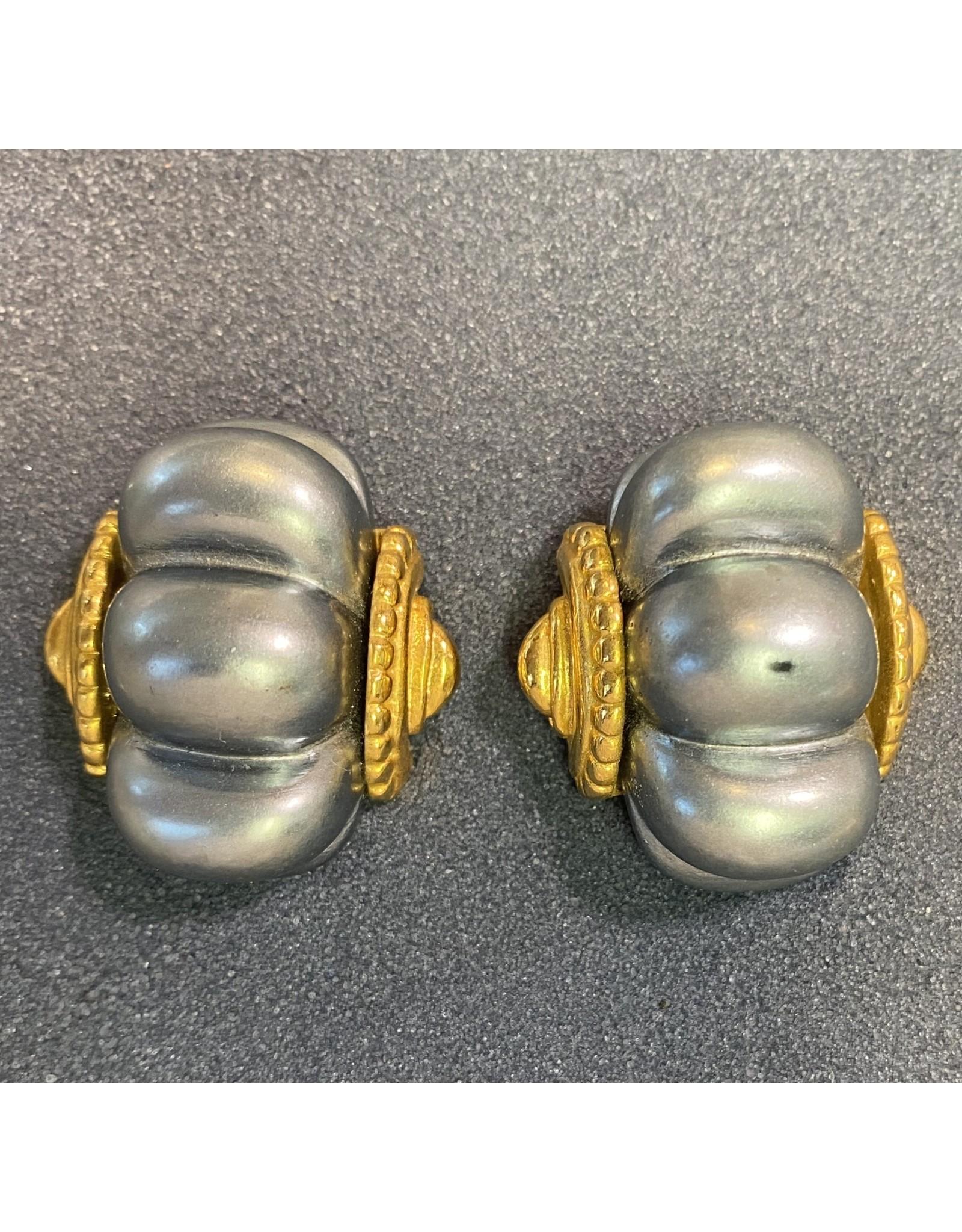 Kenneth Jay Lane Shrimp Dark Pearl Clip Earrings