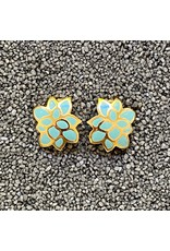 VC Italy Turquoise and Gold Flower Clip Earrings