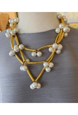 Francoise Montague Elk Gold w/ Pearls Necklace