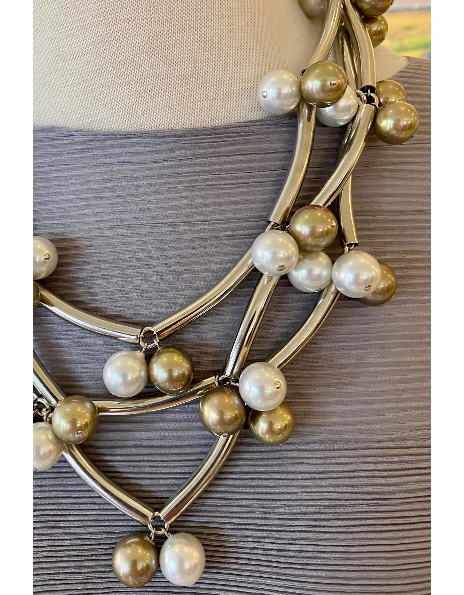 Francoise Montague Elk Silver w/ Pearls Necklace
