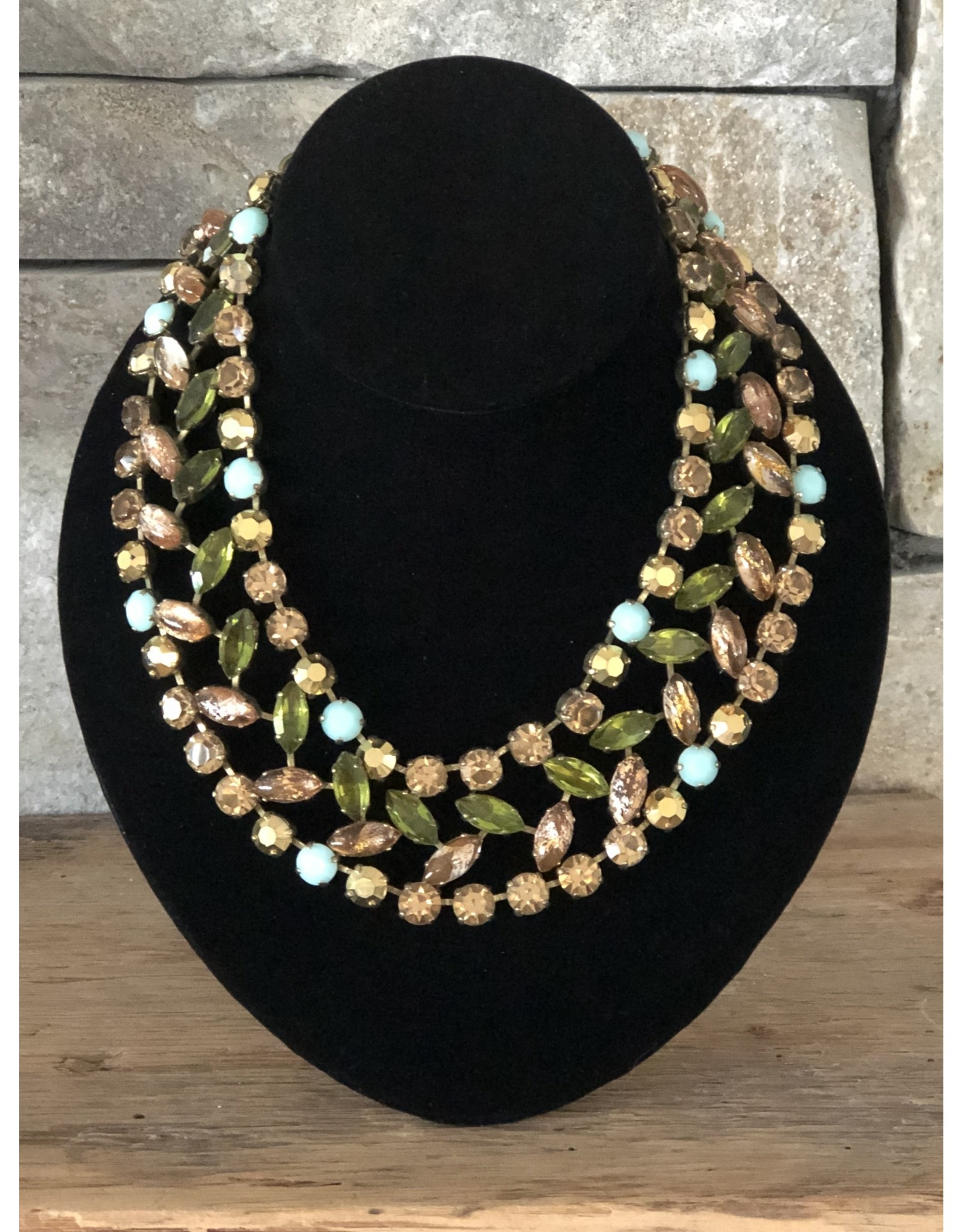 Jean Louis Blinn Blue, Green and Brown Crystals Nacklace