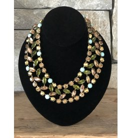Jean Louis Blin Blue, Green and Brown Crystals Nacklace