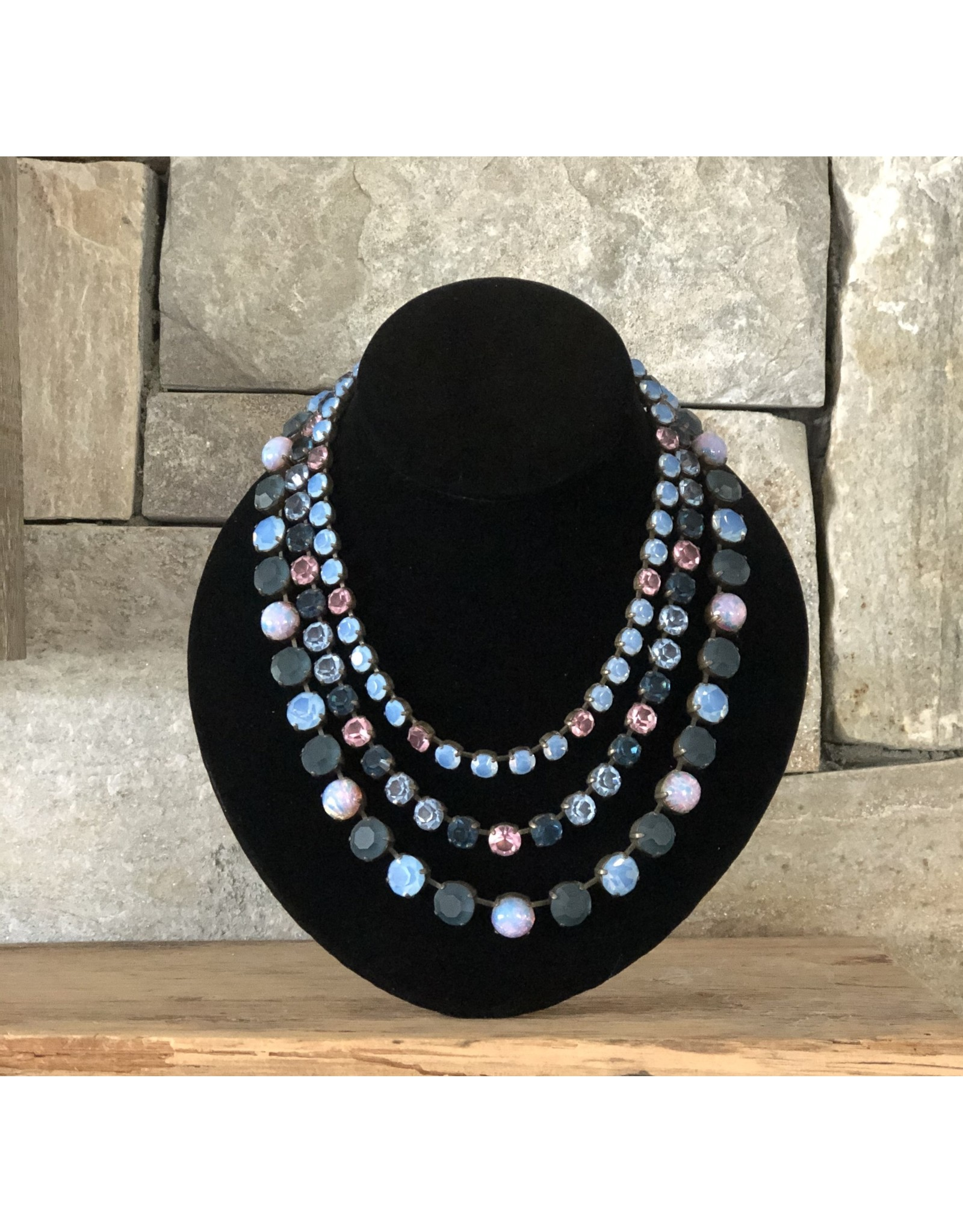 Jean Louis Blinn Aqua, Pink and Purple Crystals Necklace