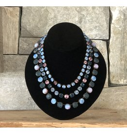 Jean Louis Blin Aqua, Pink and Purple Crystals Necklace