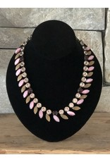 Jean Louis Blinn Pink and Burgundy Petals Crystal Necklace