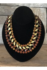 Jean Louis Blinn Bronze Metal w/ Yellow, Brown and Lime Crystals Necklace