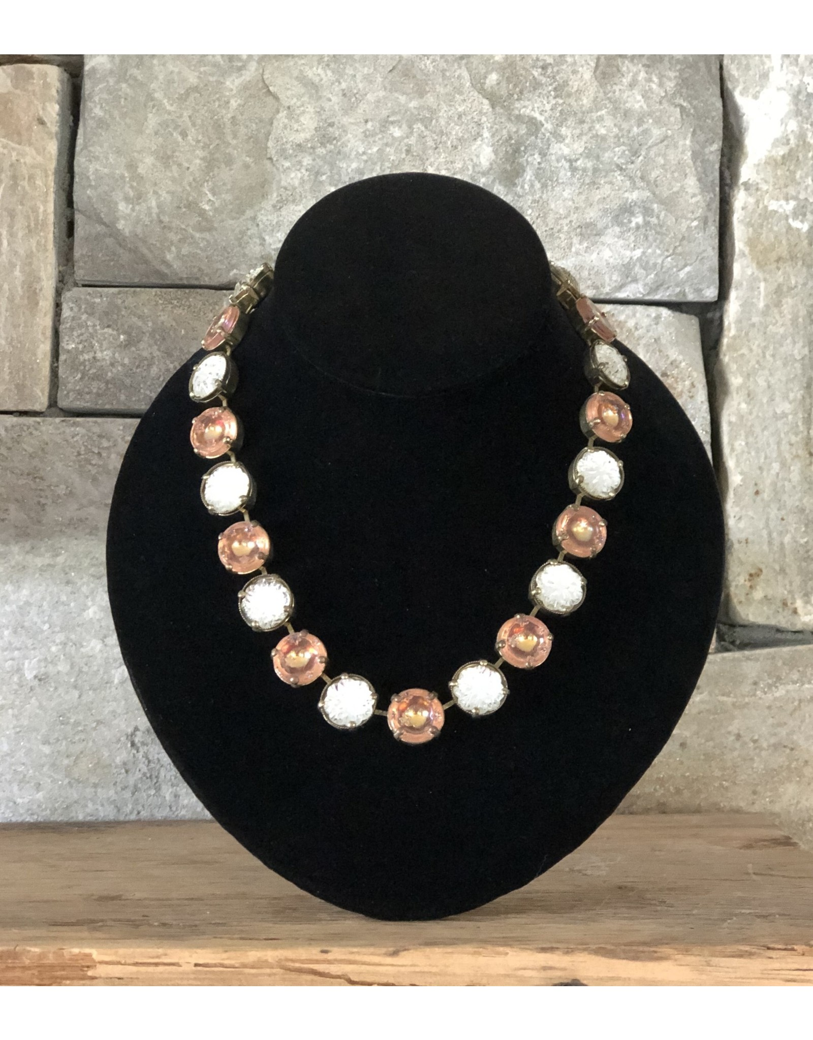Jean Louis Blinn White & Pink Crystals w/ Silver Necklace