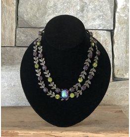 Jean Louis Blinn Bronze, Leaves, Purple and Gree w/ Opal Center Necklace