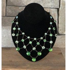Jean Louis Blinn Bronze Metal, Green Crystals Necklace
