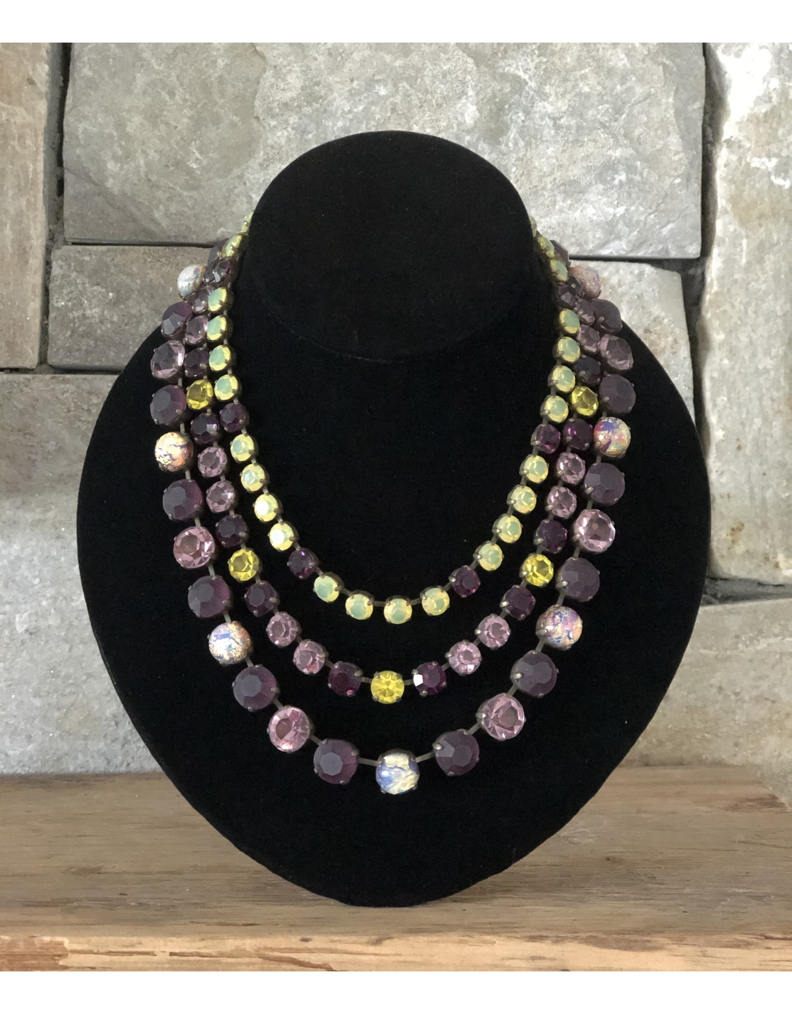 Jean Louis Blinn Bronze Metal,  Lime, Purple, Opal Center Necklace