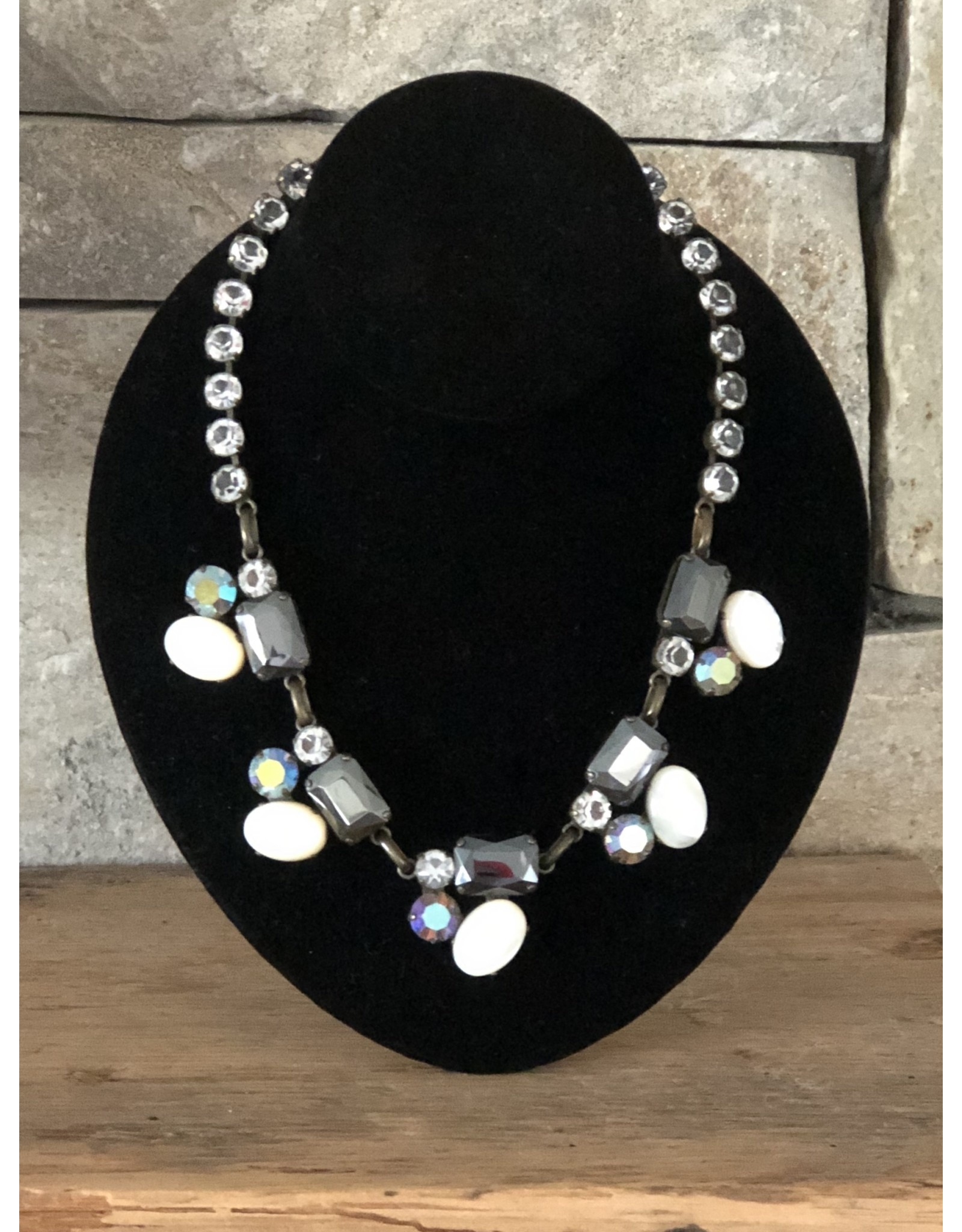 Jean Louis Blinn Hematite, White and Clear Crystals Necklace
