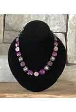 Jean Louis Blinn Purple, Pink Crystals in Bronze