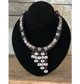 Jean Louis Blinn Peach, Red and White Crystals Necklace