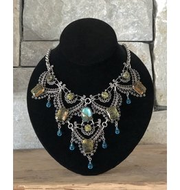Jean Louis Blin Antique Silver Lace Aqua and Olive Drops Necklace