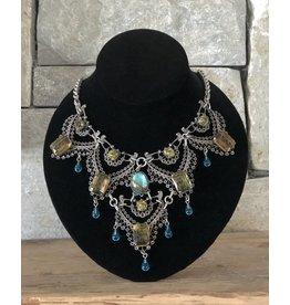 Jean Louis Blinn Antique Silver Lace Aqua and Olive Drops Necklace