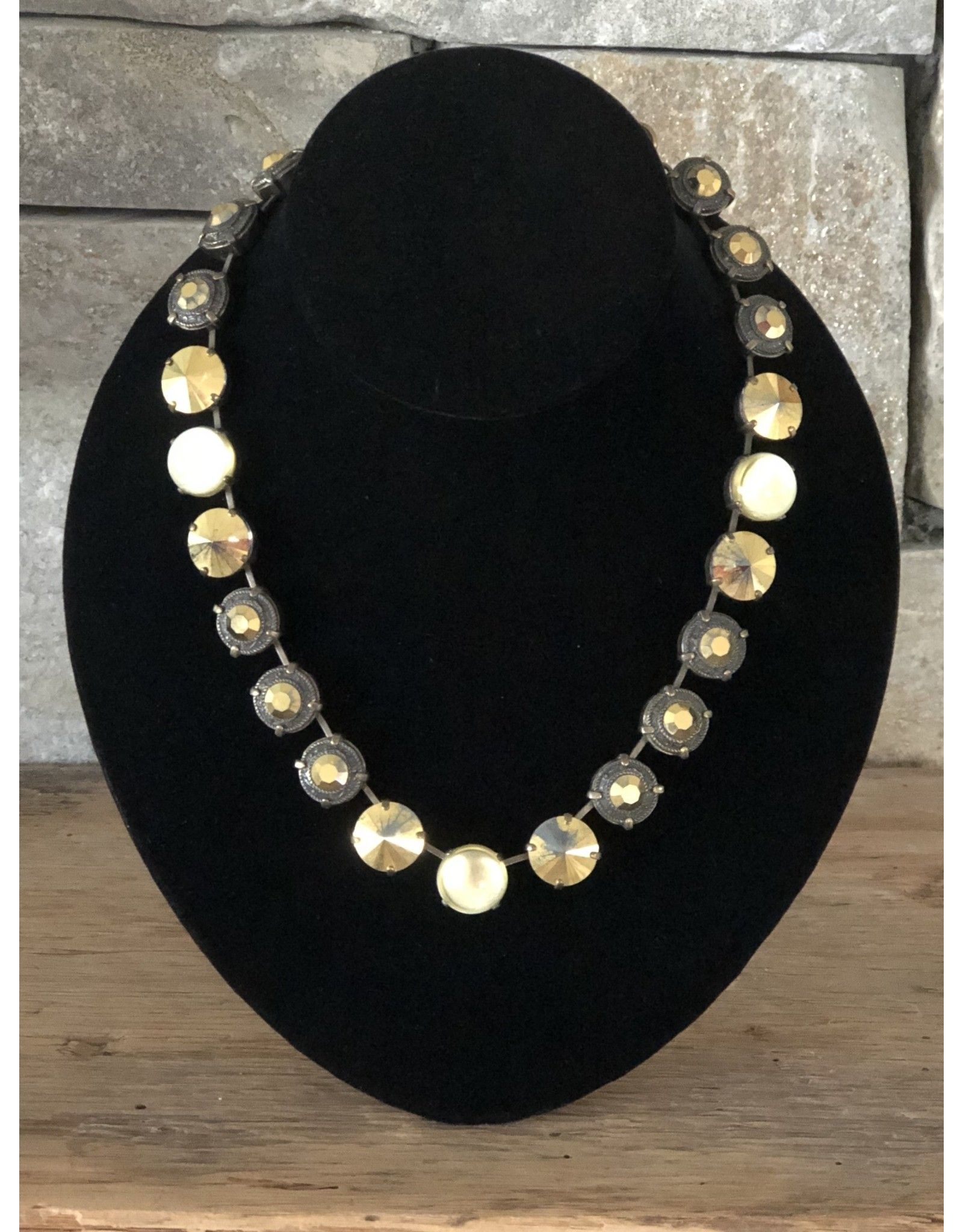 Jean Louis Blinn Gold w/ Green & Topaz Crystals Necklace