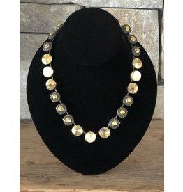 Jean Louis Blinn Gold w/ Green & Topaz Crystals Necklace