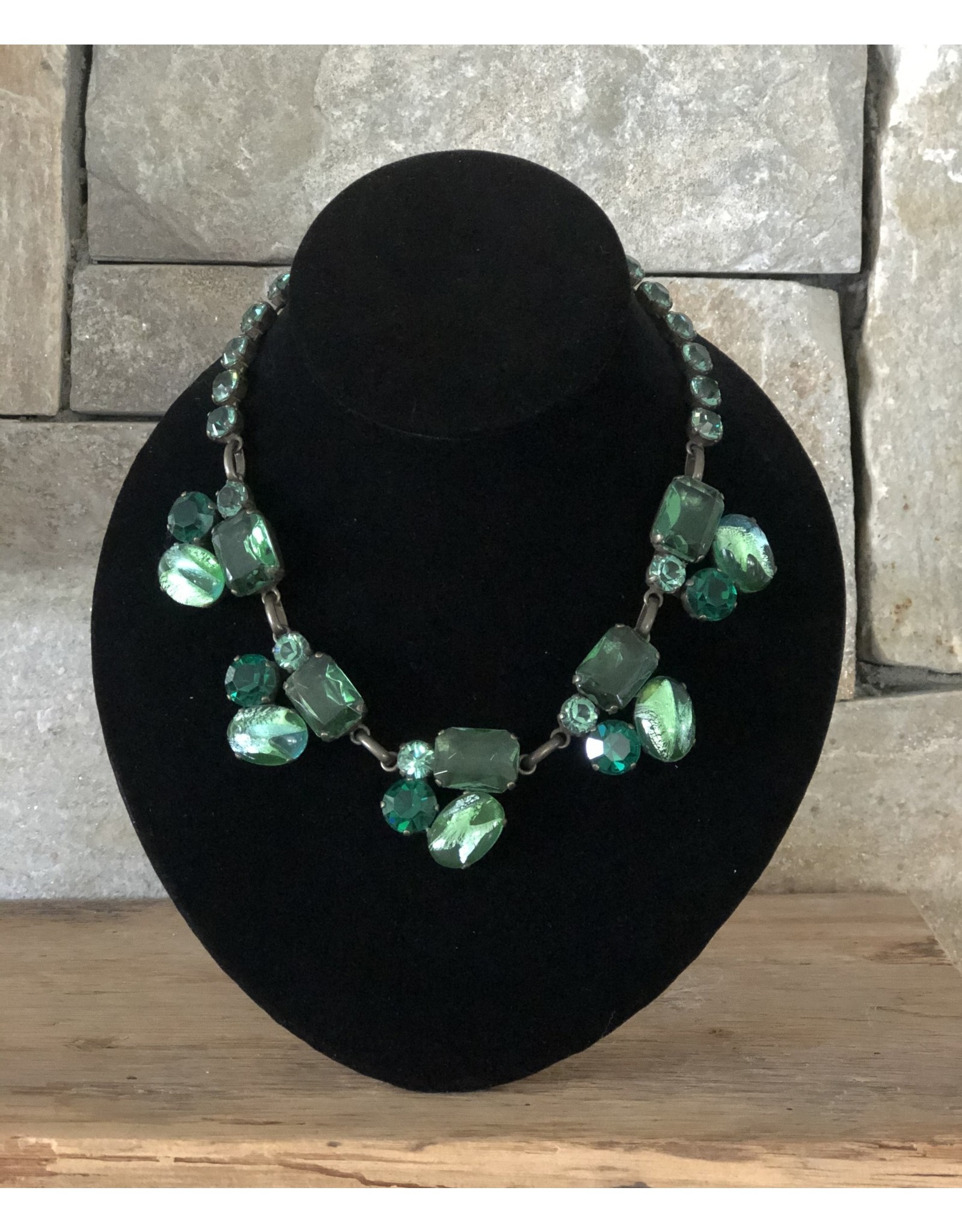 Jean Louis Blinn 3 Tone Green Stones Necklace