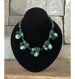 Jean Louis Blinn 3 Tone Green Stones Necklace