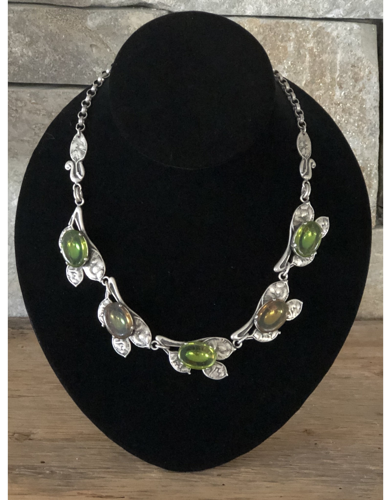 Jean Louis Blinn Antique Silver, Oval Green Crystals Necklace