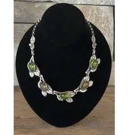 Jean Louis Blin Antique Silver, Oval Green Crystals Necklace