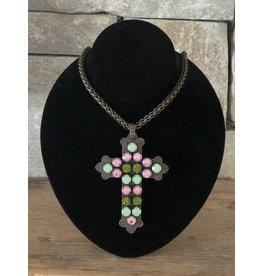 Jean Louis Blinn Bronze, Pink, Green Stones Cross Necklace