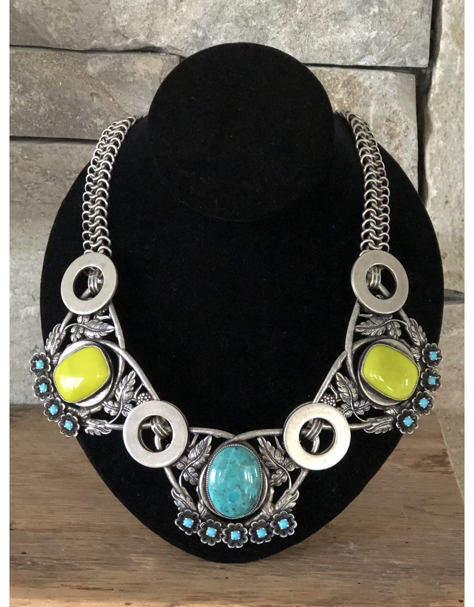 Jean Louis Blinn Antique Silver, Green and Blue Necklace