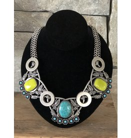 Jean Louis Blin Antique Silver, Green and Blue Necklace