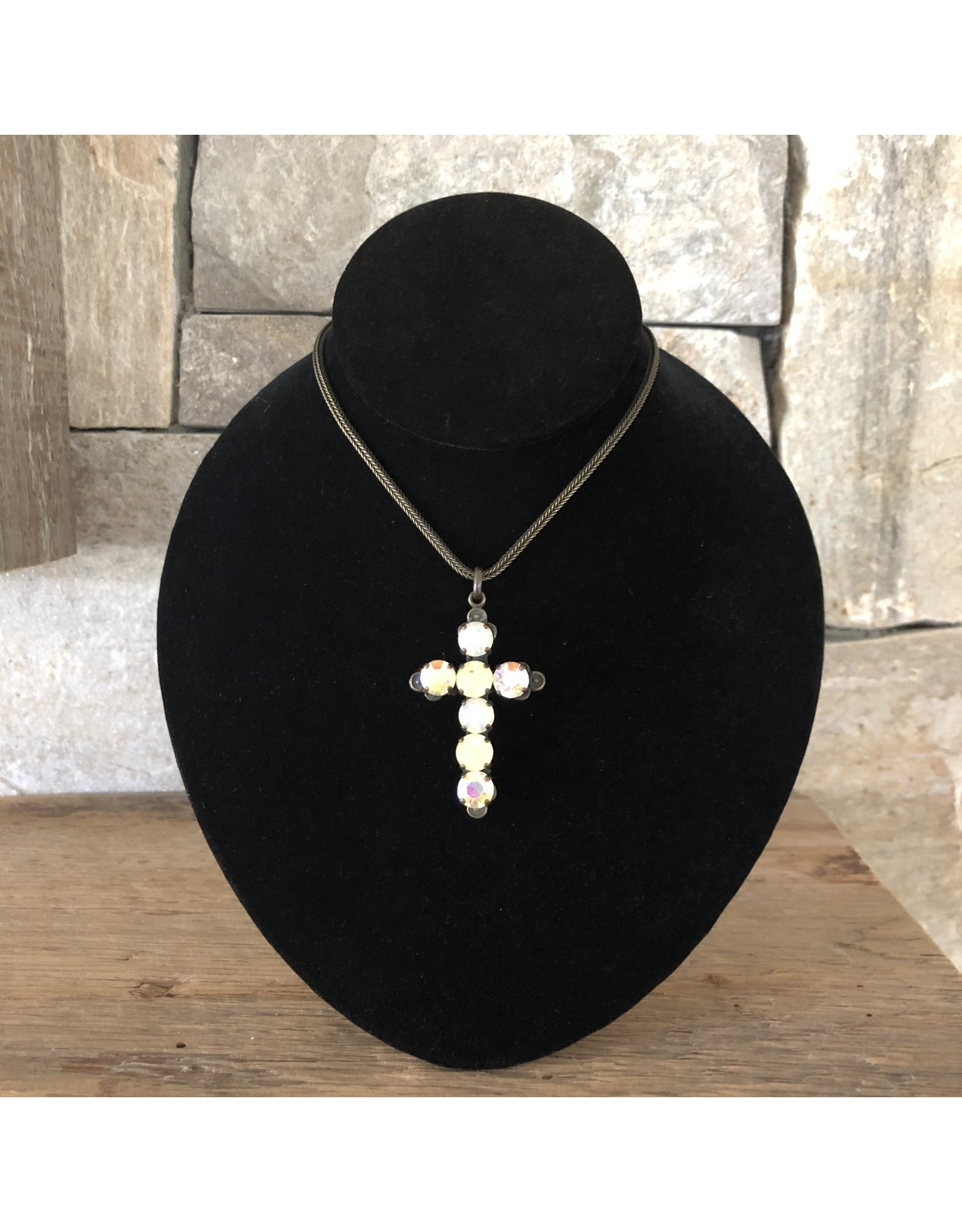 Jean Louis Blinn Yelllow Stones Small Cross Necklace