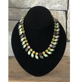 Jean Louis Blin Bronze Green and Line Necklace