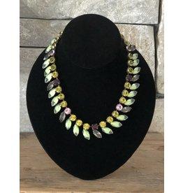 Jean Louis Blinn Bronze Green and Line Necklace