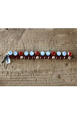 Jean Louis Blinn 2 Tier, Red and  Blue Stones Bracelet
