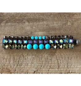 Jean Louis Blin 3 Tier, Blue, Purple and Brown Stones Bracelet