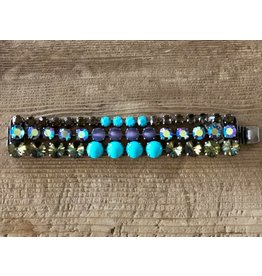 Jean Louis Blinn 3 Tier, Blue, Purple and Brown Stones Bracelet