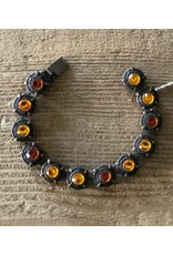 Jean Louis Blinn Bronze Metal,  Opalized and Amber Stones Bracelet