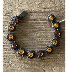 Jean Louis Blin Bronze Metal,  Opalized and Amber Stones Bracelet