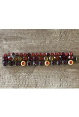 Jean Louis Blinn 3 Tier, Red and Amber Stones Bracelet